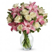 Pink Lilies With White Roses